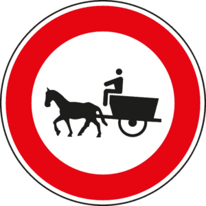cartello divieto di transito veicoli a trazione animale