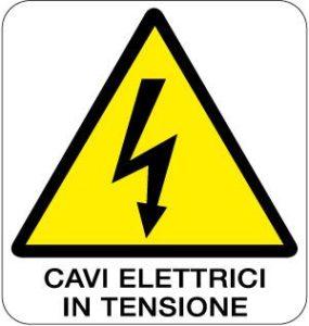 cartello cavi elettrici in tensione