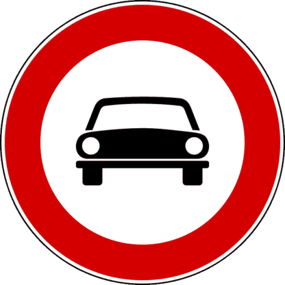 Cartello transito vietato agli autoveicoli