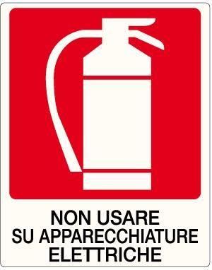 cartello estintore non usare su apparecchiature elettriche