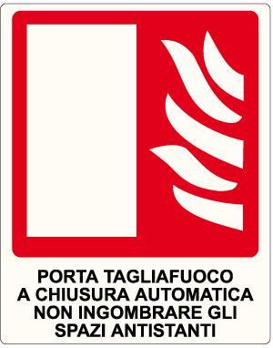 cartello porta tagliafuoco a chiusura automatica
