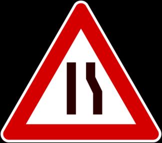 cartello strettoia asimmetrica a destra