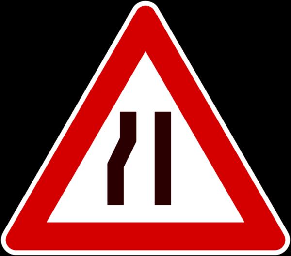 cartello strettoia asimmetrica a sinistra