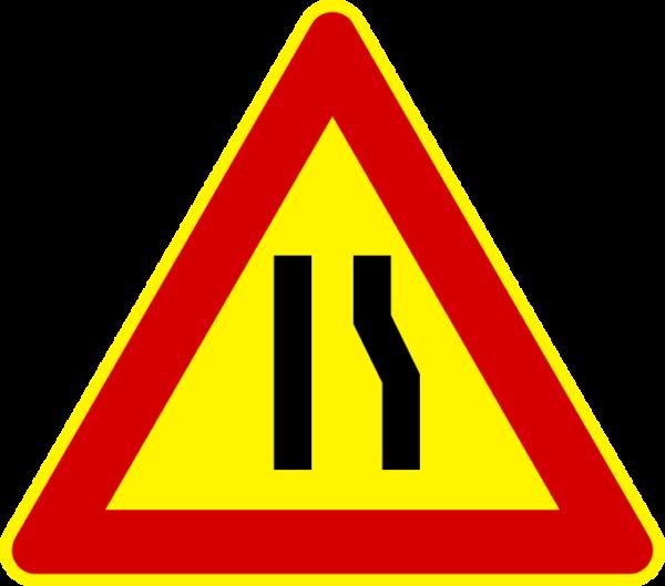 cartello temporaneo strettoia asimmetrica a destra