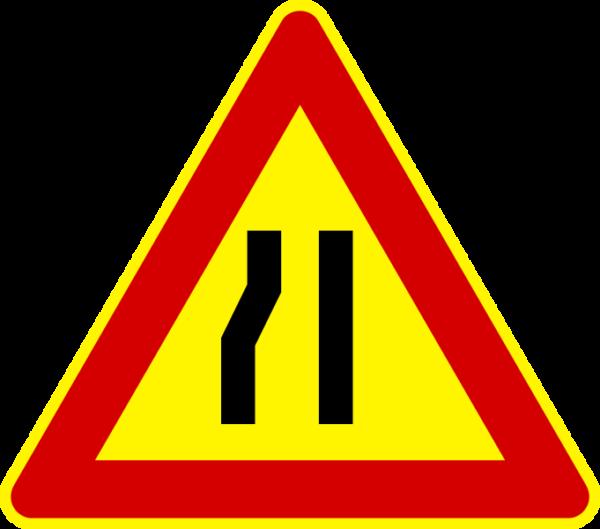 cartello temporaneo strettoia asimmetrica a sinistra
