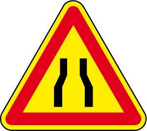 cartello temporaneo strettoia simmetrica
