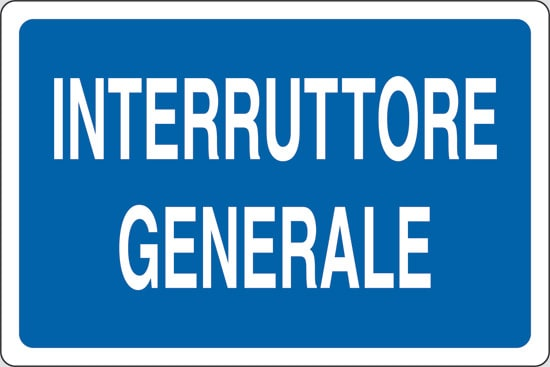 cartello interruttore generale